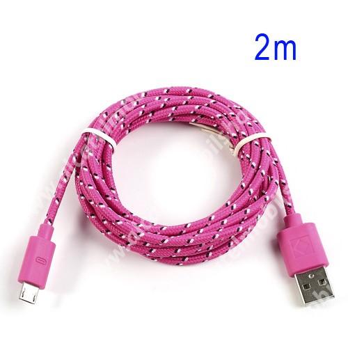 Alcatel OT-810D Adatátviteli kábel / USB töltő - microUSB 2.0, 2m hosszú, 1A - RÓZSASZÍN