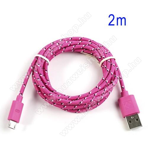 HUAWEI Red Bull Mobile 2Adatátviteli kábel / USB töltő - microUSB 2.0, 2m hosszú, 1A - RÓZSASZÍN