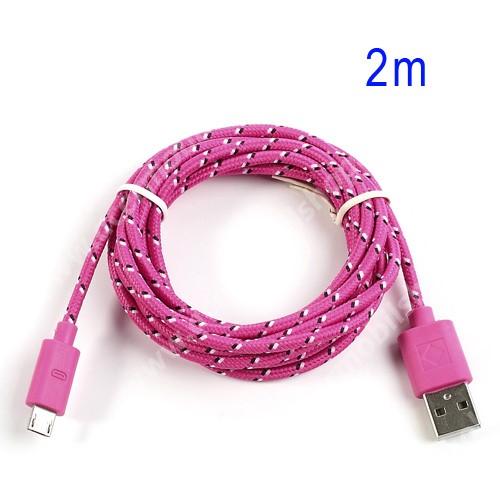 ACER Iconia Tab A3-A20 Adatátviteli kábel / USB töltő - microUSB 2.0, 2m hosszú, 1A - RÓZSASZÍN