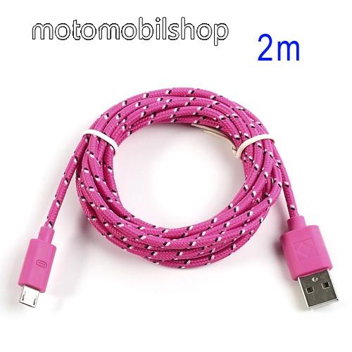 MOTOROLA DROID Ultra Adatátviteli kábel / USB töltő - microUSB 2.0, 2m hosszú, 1A - RÓZSASZÍN