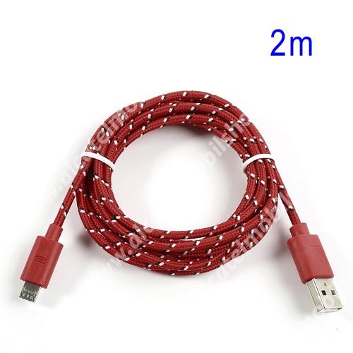 Alcatel OT-810D Adatátviteli kábel / USB töltő - microUSB 2.0, 2m hosszú, 1A - PIROS