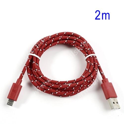 ACER Iconia Tab A1-811 Adatátviteli kábel / USB töltő - microUSB 2.0, 2m hosszú, 1A - PIROS