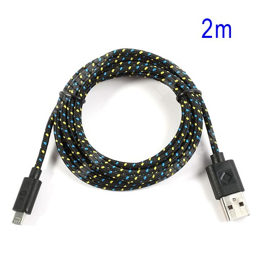 HTC HD 2 Adatátviteli kábel / USB töltő - microUSB 2.0, 2m hosszú, 1A - FEKETE
