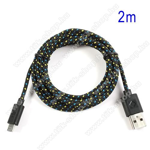 Adatátviteli kábel / USB töltő - microUSB 2.0, 2m hosszú, 1A - FEKETE