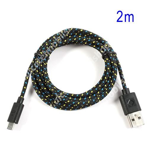 ALCATEL A5 LED Adatátviteli kábel / USB töltő - microUSB 2.0, 2m hosszú, 1A - FEKETE
