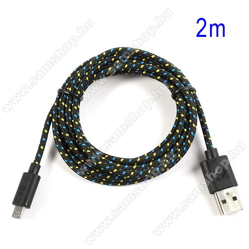 SAMSUNG Galaxy C8 (2017)Adatátviteli kábel / USB töltő - microUSB 2.0, 2m hosszú, 1A - FEKETE
