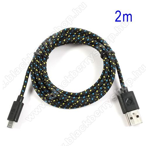 BLACKBERRY Q5Adatátviteli kábel / USB töltő - microUSB 2.0, 2m hosszú, 1A - FEKETE