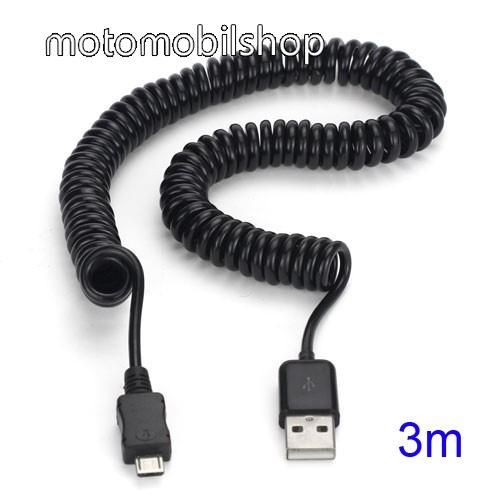 MOTOROLA DROID Ultra Adatátviteli kábel / USB töltő - microUSB, 3m, spirálkábel - FEKETE