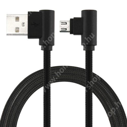 HUAWEI MediaPad X2 Adatátviteli kábel / USB töltő - microUSB, 90°-os derékszögű, 25cm hosszú, 2A, szövettel bevont - FEKETE
