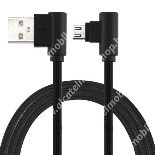 Alcatel OT-810D Adatátviteli kábel / USB töltő - microUSB, 90°-os derékszögű, 25cm hosszú, 2A, szövettel bevont - FEKETE