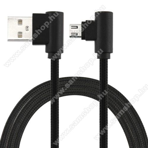 SAMSUNG Galaxy Core (GT-I8260)Adatátviteli kábel / USB töltő - microUSB, 90°-os derékszögű, 25cm hosszú, 2A, szövettel bevont - FEKETE