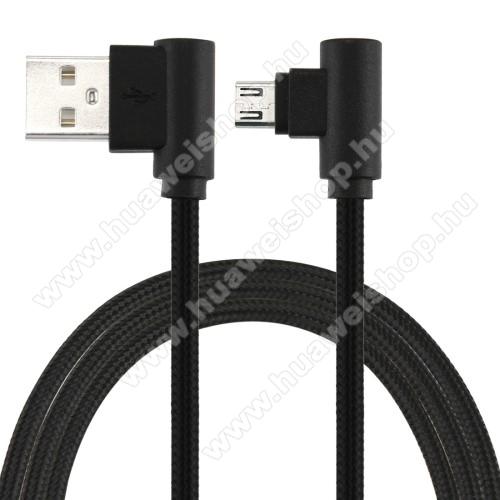 HUAWEI P9 lite miniAdatátviteli kábel / USB töltő - microUSB, 90°-os derékszögű, 25cm hosszú, 2A, szövettel bevont - FEKETE