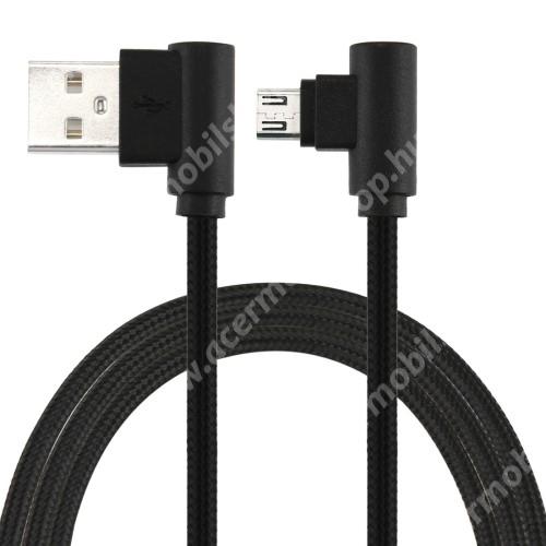 ACER Liquid Z110Adatátviteli kábel / USB töltő - microUSB, 90°-os derékszögű, 25cm hosszú, 2A, szövettel bevont - FEKETE