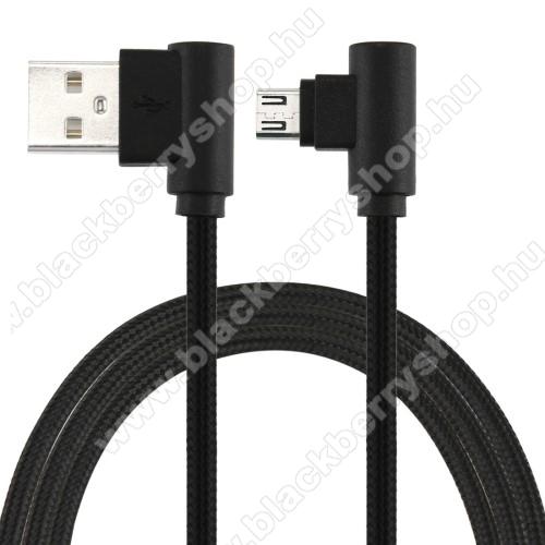 BLACKBERRY 9100 Pearl 3GAdatátviteli kábel / USB töltő - microUSB, 90°-os derékszögű, 25cm hosszú, 2A, szövettel bevont - FEKETE
