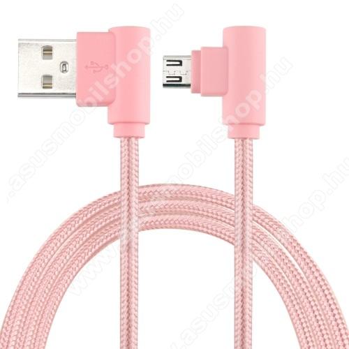 ASUS Transformer Pad TF303CLAdatátviteli kábel / USB töltő - microUSB, 90°-os derékszögű, 25cm hosszú, 2A, szövettel bevont - RÓZSASZÍN
