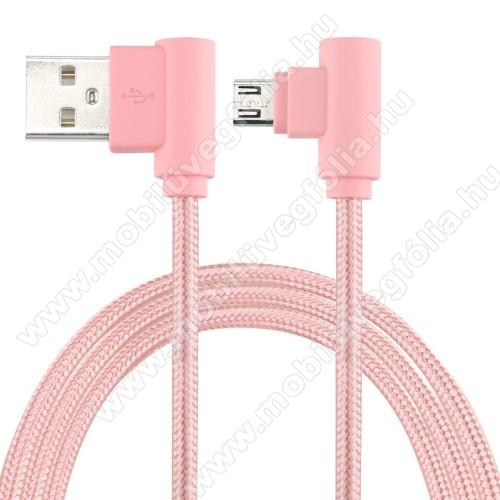 DJI Mavic ProAdatátviteli kábel / USB töltő - microUSB, 90°-os derékszögű, 25cm hosszú, 2A, szövettel bevont - RÓZSASZÍN