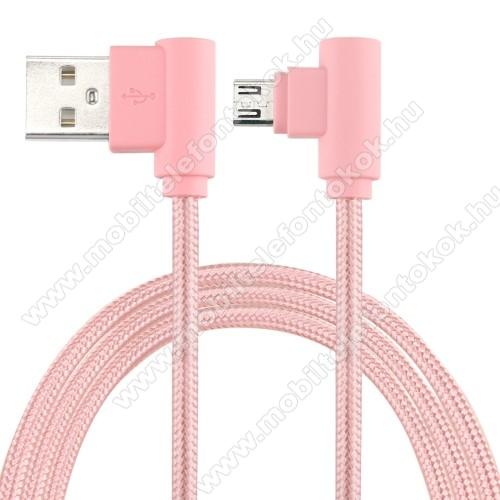 Adatátviteli kábel / USB töltő - microUSB, 90°-os derékszögű, 25cm hosszú, 2A, szövettel bevont - RÓZSASZÍN