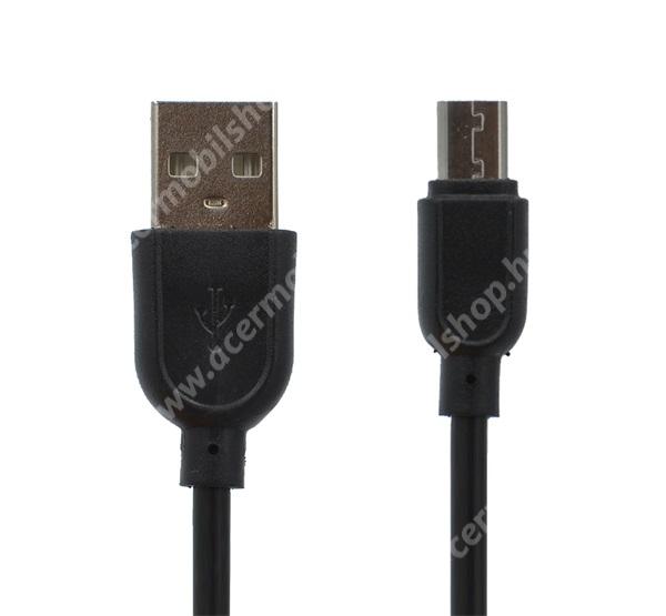 Adatátviteli kábel / USB töltő - microUSB speciális, 8 mm hosszított fej, 1m - FEKETE