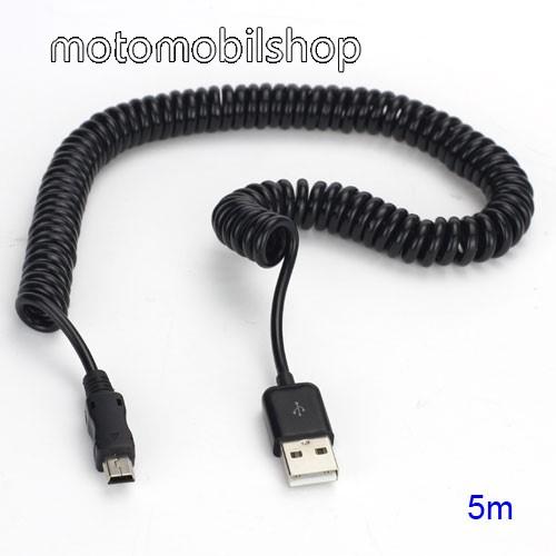 Adatátviteli kábel / USB töltő - miniUSB, nyújthatatlan hosszúság: 38cm, maxiumum 5m-ig nyújtható spirálkábel - FEKETE