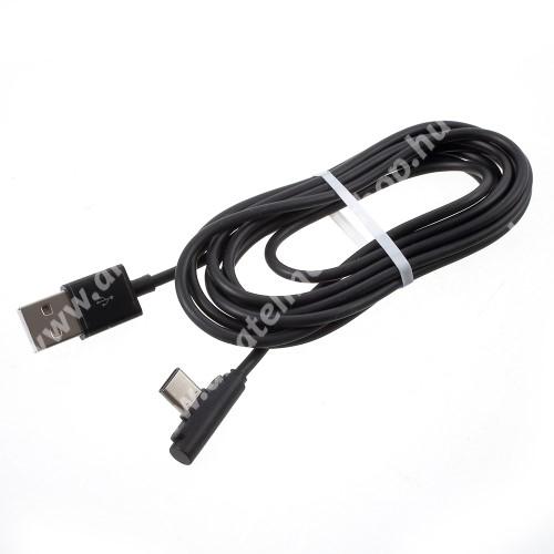 Adatátviteli kábel / USB töltő - USB Type-C, 90°-os derékszögű, 2m hosszú - FEKETE