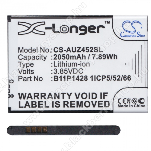 Akku 2050 mAh LI-ION (B11P1428 / 1ICP5/52/66 kompatibilis) - CS-AUZ452SL - Asus Zenfone Go (ZB452KG) - GYÁRI
