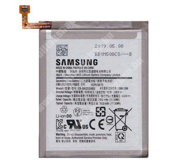 Akku 3000 mAh LI-Polymer (belső akku, beépítése szakértelmet igényel!) - EB-BA530ABE / GH82-15656A - SAMSUNG SM-A202F Galaxy A20e - EB-BA202ABU / GH82-20188A - GYÁRI - Csomagolás nélküli