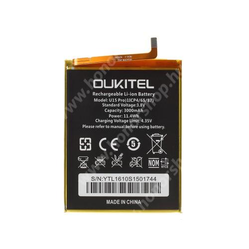 Akku 3000mAh LI-ION (belső akku, beépítése szakértelmet igényel!) - Oukitel U15 Pro