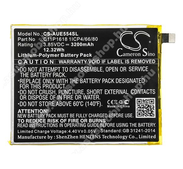 Akku 3200 mAh LI-Polymer (belső akku, beépítése szakértelmet igényel, C11P1618 kompatibilis) - ASUS Zenfone 4 (ZE554KL) - CS-AUE554SL - GYÁRI