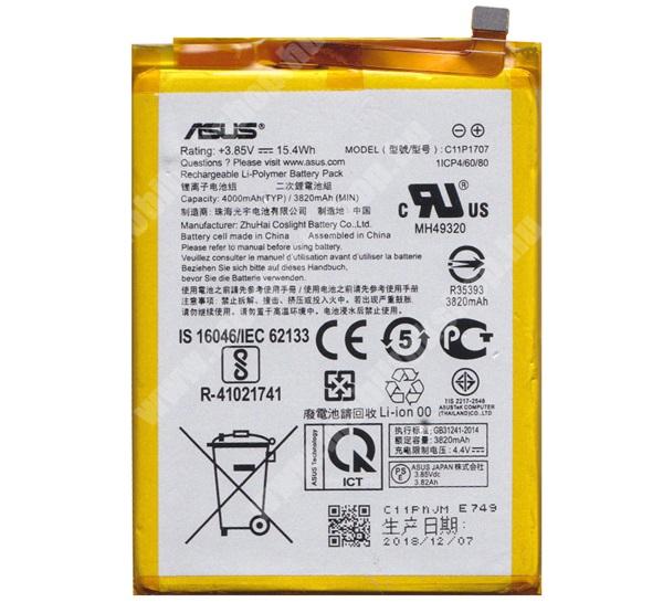 Akku 4000 mAh LI-Polymer (belső akku, beépítése szakértelmet igényel!) - Asus Zenfone Max M1 (ZB555KL) (2018) - C11P1707 - GYÁRI