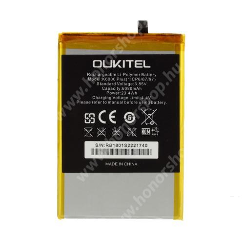 Akku 6080mAh LI-Polymer (belső akku, beépítése szakértelmet igényel!) - Oukitel K6000 Plus