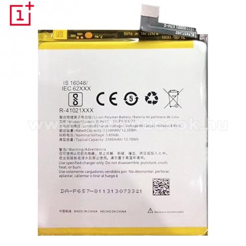 Akkumul�tor - 3300 mAh Li-Polymer - bels? akku, be�p�t�se szak�rtelmet ig�nyel! - Oneplus 6 - BLP657 - GY�RI