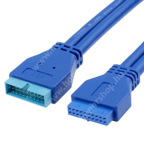 HUAWEI Honor V40 5G Alaplap 20 pin-es hosszabbító kábel - USB 3.0, 50cm hosszú, 5Gbps, 20 pin anya / 20 pin apa csatlakozó - KÉK