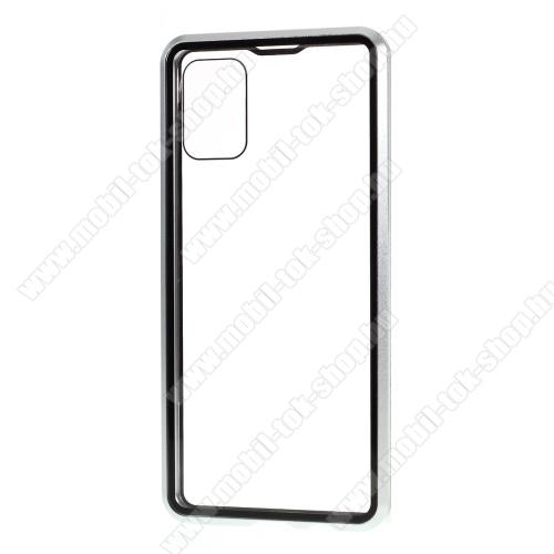 Alumínium védő keret / hátlap - 360°-os védelem, alumínium védő keret, mágneses előlap + hátlap keret, előlap + hátlap védő edzett üveggel - EZÜST -  SAMSUNG SM-A715F Galaxy A71