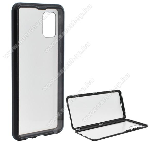 Alumínium védő keret / hátlap - 360°-os védelem, alumínium védő keret, mágneses előlap + hátlap keret, előlap + hátlap védő edzett üveggel - FEKETE -  SAMSUNG Galaxy A51 (SM-A515F)