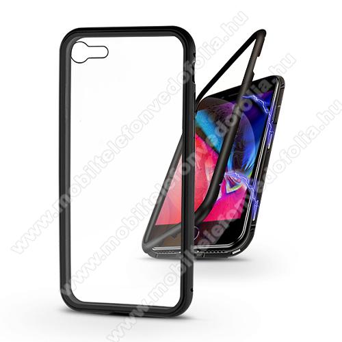 Alumínium védő keret / hátlap - alumínium védő keret, mágneses előlap + hátlap keret, hátlap védő edzett üveggel, előlapi üveg nélkül! - FEKETE - APPLE iPhone SE (2020) / APPLE iPhone 7 / APPLE iPhone 8
