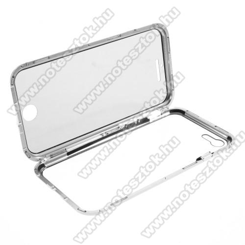 Alumínium védő keret / hátlap - EZÜST - 360°-os védelem, alumínium védő keret, mágneses előlap + hátlap keret, előlap + hátlap védő edzett üveggel -  APPLE iPhone SE (2020) / APPLE iPhone 7 / APPLE iPhone 8