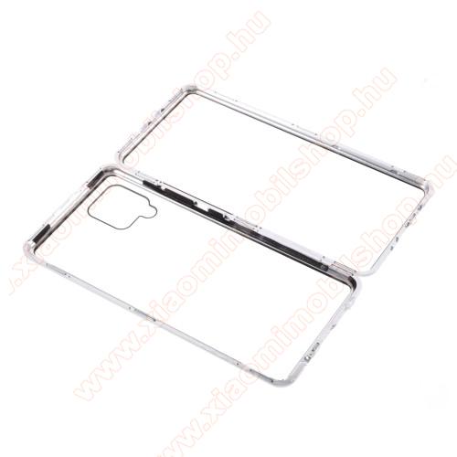 Alumínium védő keret / hátlap - EZÜST - 360°-os védelem, alumínium védő keret, mágneses előlap + hátlap keret, előlap + hátlap védő edzett üveggel - SAMSUNG Galaxy A42 5G (SM-A425F)