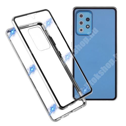 Alumínium védő keret / hátlap - EZÜST - 360°-os védelem, alumínium védő keret, mágneses előlap + hátlap keret, előlap + hátlap védő edzett üveggel - SAMSUNG Galaxy A72 5G (SM-A726F) / Galaxy A72 4G (SM-A725F)