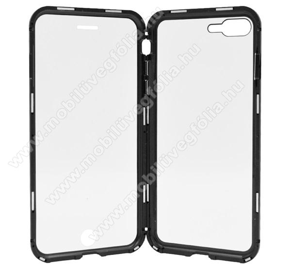 Alumínium védő keret / hátlap - FEKETE - 360°-os védelem, alumínium védő keret, mágneses előlap + hátlap keret, előlap + hátlap védő edzett üveggel - APPLE iPhone 7 Plus / iPhone 8 Plus