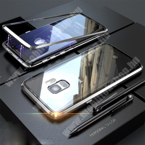Alumínium védő keret, mágneses előlap + hátlap keret, hátlap védő edzett üveggel - EZÜST - SAMSUNG SM-G960 Galaxy S9