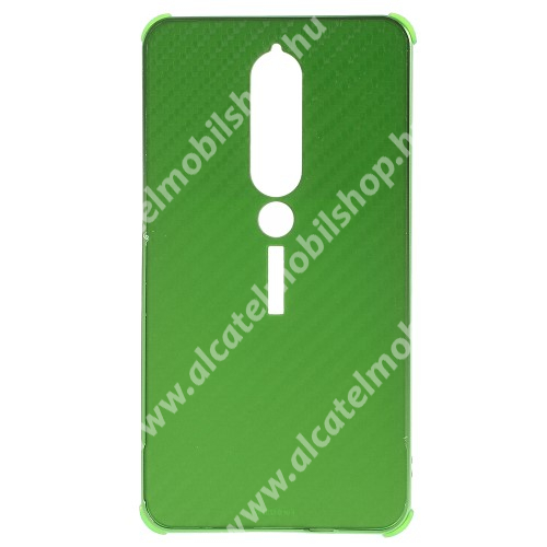 Alumínium védő tok / hátlap - KARBON MINTÁS - ZÖLD - NOKIA 6.1 (2018)