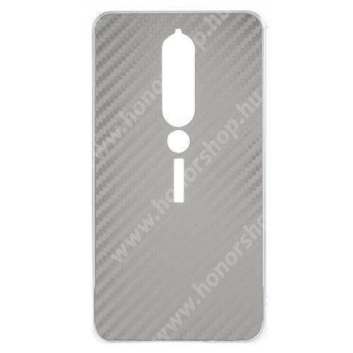 Alumínium védő tok / hátlap - KARBON MINTÁS - EZÜST - NOKIA 6.1 (2018)