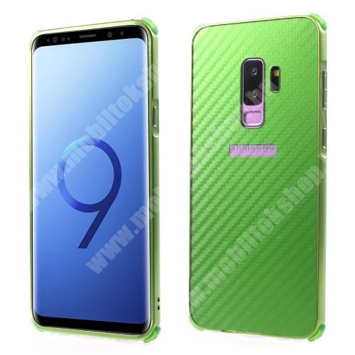 Alumínium védő tok / hátlap - KARBON MINTÁS - ZÖLD - SAMSUNG SM-G965 Galaxy S9+