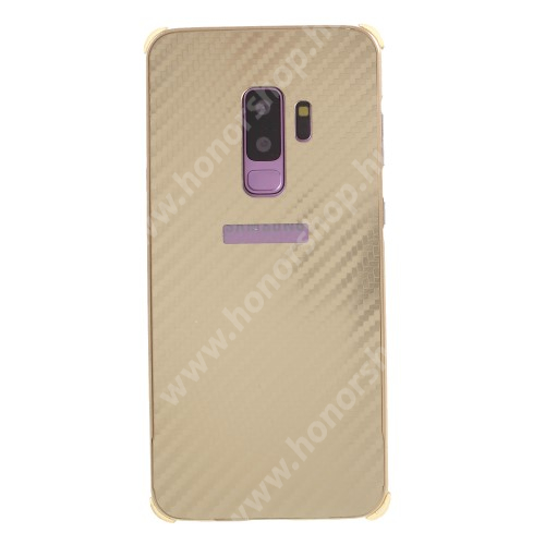 Alumínium védő tok / hátlap - KARBON MINTÁS - ARANY - SAMSUNG SM-G965 Galaxy S9+