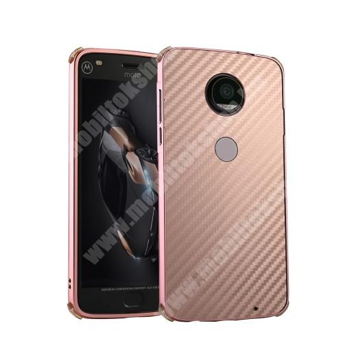 Alumínium védő tok / hátlap - ROSE GOLD - karbon mintás - MOTOROLA Moto G6 Plus (2018)
