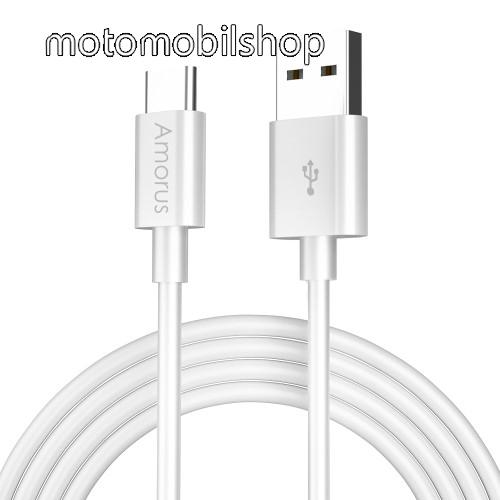 MOTOROLA Moto Z Play AMORUS adatátvitel adatkábel / USB töltő - USB Type-C, 2.1A, 1m - FEHÉR - GYÁRI