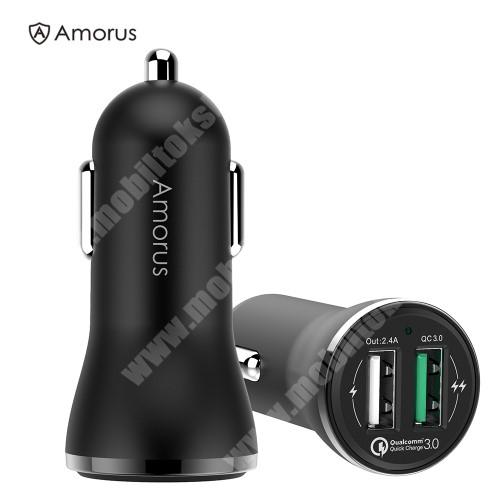 LG K40 (K12+) AMORUS CC-37 szivargyújtós töltő / autós töltő - 2x USB aljzattal, 1x Quick Charge 3.0 3.6V-6V/3A, 6.2V-9V/2A, 9.2V-12V/1.5A; 1x 5V/2.4A - FEKETE - GYÁRI