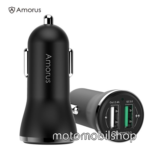 AMORUS CC-37 szivargyújtós töltő / autós töltő - 2x USB aljzattal, 1x Quick Charge 3.0 3.6V-6V/3A, 6.2V-9V/2A, 9.2V-12V/1.5A; 1x 5V/2.4A - FEKETE - GYÁRI
