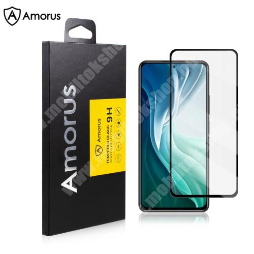 AMORUS előlap védő karcálló edzett üveg, TELJES KIJELZŐT VÉDI! - FEKETE - 9H, A teljes felületén tapad! - Xiaomi Redmi K40 / Redmi K40 Pro / Redmi K40 Pro Plus / Mi 11i / Poco F3 - GYÁRI