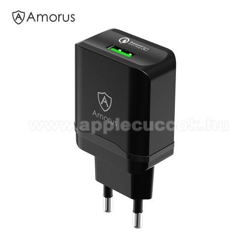 AMORUS hálózati töltő - 1 x USB aljzat, Quick Charge 3.0 gyors töltés támogatás, 3.6V-6V/3A; 6.2V-9V/2A; 9.2V-12V/1.5A, 18W(max!) + Type-C töltő, adatátviteli kábellel - FEKETE - GYÁRI